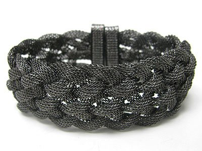 Braided Mesh Hematite Chain Magnetic Clasp Bracelet Fashion Jewelry