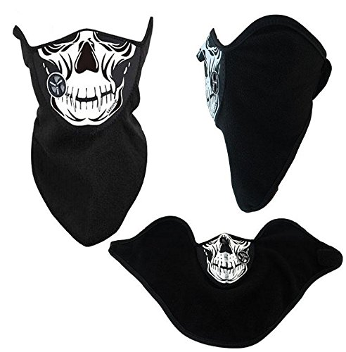 New 2 IN 1 Windproof Biker Cycling Skull Half Face Biker Bandana Mask Motorcycle Skeleton Jawbone Wild Hogs Style Neck Scarf Anti Dust Sun Protection Cosplay Paintball Airsoft