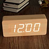 Wooden LED Digital Alarm Clock KING DO WAY Rectangular Wood Clock With Temperature Time Date Display USB/ AA Battery Powered Desk Alarm Clock for Kid, Home, Office, Daily Life, Heavy Sleepers