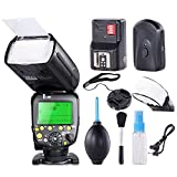 FitTek® Travor Professional i-TTL Master/Slave *High Speed Sync* Fast Recycle Time Speedlite Flash Full Kit for Nikon D80, D90, D800, D700, D7100, D7000, D5200, D5100, D5000, D300, D300S, D3200, D3100, D3000, D200, D70S Digital SLR Cameras and Other Niko
