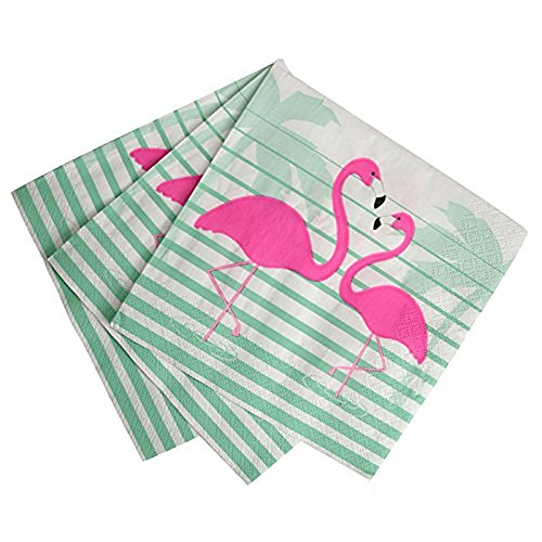 Pack of 20 Talking Tables Tropical Pink Flamingo Paper Napkins Hawaiian Party