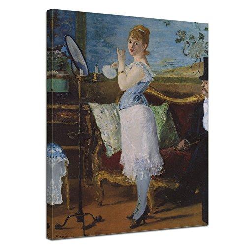 """Bilderdepot24 Leinwandbild Édouard Manet - Alte Meister """"Nana"""" 50x70cm - fertig gerahmt, direkt vom Hersteller"""