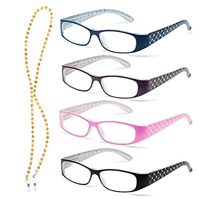 Specs Lightweight Reading Glasses Set of 4 Colors-Spring Hinges for Maximum Comfort-Sparkling Crystals on Temples-Free Crystal Chain, Cleaning Cloth and 4 Carrying Pouches Included