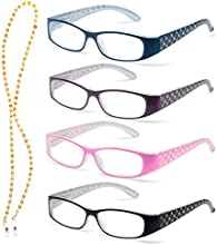 Specs Reading Glasses Set of 4 Colors-Quality - Sparkling Crystals on Temples and Free Crystal Chain, Cleaning Cloth and Carrying Pouch Included +1.00