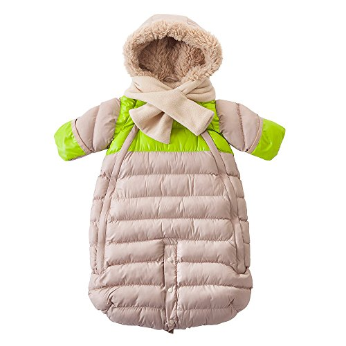 7AM Enfant Doudoune One Piece Infant Snowsuit Bunting, Beige/Neon Lime, Medium