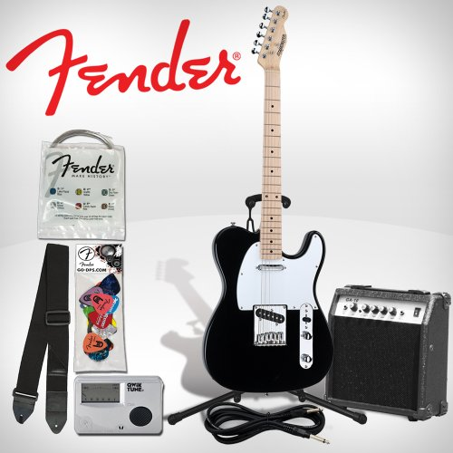 Fender Starcaster Black Telecaster Electric Guitar Pack - Includes: Guitar Stand and Strap. Additional accessories included: 10 Watt Guitar Amp, Chromatic Tuner, Light Strings, and 12 Pack Pick Sampler (DPS-FN-SAMPLER)