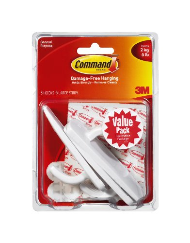 Command Large Plastic Hooks Value Pack, 3-Hook