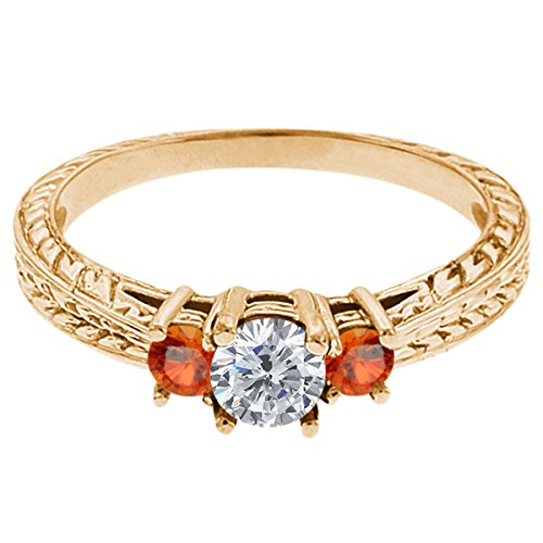 0.56 Ct Round G/H Diamond Orange Sapphire 18K Yellow Gold 3-Stone Ring