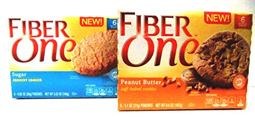 Fiber One, NEW COOKIE FLAVORS! VARIETY PACK + FREE 19 oz Beverage Bottle, 3 Boxes of PEANUT BUTTER SOFT BAKED COOKIES & 3 Boxes of SUGAR CRUNCHY COOKIES, 6 Bars Per Box (6 Pack) (Fiber Beverage compare prices)