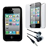 Black Soft Silicone Skin Case + Clear Back/Front Crystal Screen Protector + Earphone for Apple Iphone 4S 8GB 16GB 32GB