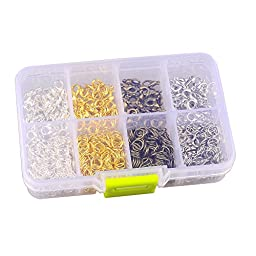 In A Box(880 pcs/box) Kit with 4 Color 120 Pcs Lobster Claw Clasps 10mm and 760 Pcs Open Jump Rings 6mm for Jewelry Making Findings