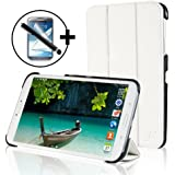 ForeFront Cases® - Étui en cuir synthétique avec support pour Samsung Galaxy Tab 3 8.0 8 Gb 3G + Wi-Fi - fermeture magnétique avec mise en veille automatique + stylet et film de protection pour écran - Blanc