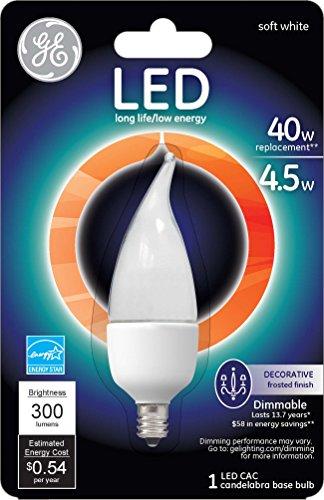 Ge Lighting 89948 Energy-Smart Led 4.5-Watt, 300-Lumen Bent Tip Bulb With Candelabra Base, Frosted, 1-Pack