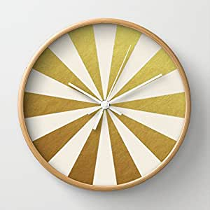 Society6 Gold Starburst Wall Clock By Her Art