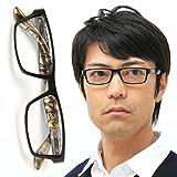 老眼鏡 おしゃれ メンズ (M-302 3カラー) さりげないお洒落が内側に 快適バネ丁番付 ケース付 (度数+1.50, ブラック&シャンパンゴールド)