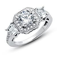 925 Sterling Silver Cubic Zirconia CZ Promise Engagement 2.15 ct.tw Band Ring by Metal Factory