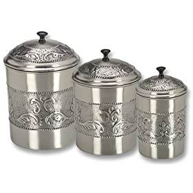 Old Dutch 411 Antique Embossed Pewter Canisters Set