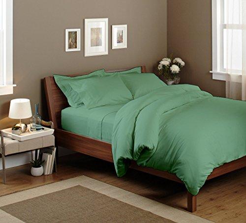 Bedding Spa 650 Thread Count Pima Cotton Sheet Set With Duvet Set Solid (Queen, Aqua Blue)
