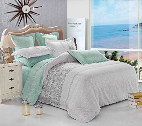 3 Piece Duvet Cover and Pillow Shams Bedding Set, Soft Microfiber Printed Reversible Design (Full Size, Gray) (Full Size Bed Quilt compare prices)