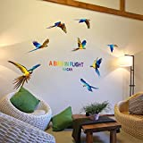SWORNA Nature Series 8 Flying Macaw Parrot Vinyl Removable DIY Wall Art Mural Nursery Sticker Decor Decal For...