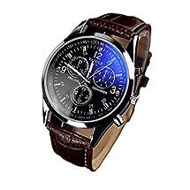 Nolia Luxury Fashion Faux Leather Mens Blue Ray Glass Quartz Analog Watches
