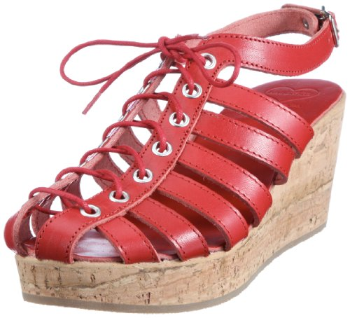 Swedish Hasbeens Cork Wedge 635, Sandali Donna, Rosso (Rot (Red)), 40
