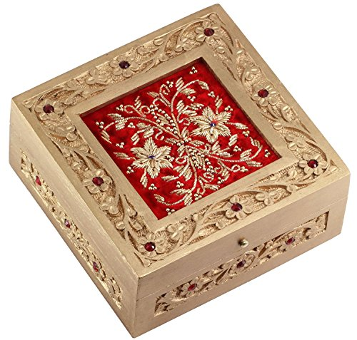 Clearance Items 65% off - SouvNear 6 Inch Red Jewelry Box Zari Decorative Keepsake - Handmade Wood Box - Gifts for Her