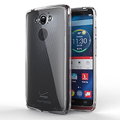 MoKo Motorola Droid Turbo Smart phone Case - [Scratch Resistant] [Anti Drop & Scratch] Halo Series Hybrid Cover with TPU Anti-drop Technology Corners + Clear Back Panel Bumper Case , Crystal Clear from MoKo