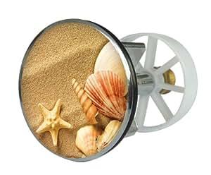 Sanitop-Wingenroth Bouchon d'évier en métal, motif plage et coquillages, 38 mm