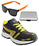 Spot On Men's Grey Yellow Running Shoes With Lotto Sunglasses And Cardholder Combo UK-7