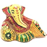 "2"" Craft Rajasthani Handicraft Traditional Aluminum Relaxing Lord Ganesha Idol Featuring Meenakari Art Work"
