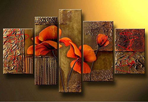 Sangu Gift 100% Hand-Painted Hot Selling Free Shipping Framed 5-Piece Composition Of Three Poppies Oil Paintings Canvas Wall Art For Home Decoration(16X24Inchx1,12X24Inchx1,16X32Inchx1,16X24Inchx1)
