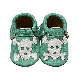Sayoyo Baby Skull Tassels Soft Sole Leather Infant Toddler Prewalker Shoes (12-18 months, Linght Green)