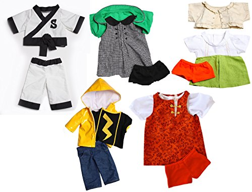 "Zylie Shen Five Teddy Bear Outfit Set Karate Uniform, Raincoat, Dress, Sweater, Shorts Fits Most 14""-18"" Build-A-Bear Stuffed Animals Clothes Bundle"