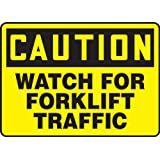 "Accuform Signs MVHR631VP Plastic Safety Sign, Legend ""CAUTION WATCH FOR FORKLIFT TRAFFIC"", 7"" Length x 10"" Width x 0.055"" Thickness, Black on Yellow"