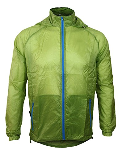 Jagger Men s Hooded Thin Light Weight Windbreaker Uv Proof Pocket Skin Jacket  XXL Green 29a0aaaf6