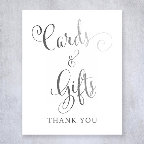 Cards and Gifts Silver Foil Sign Wedding Reception Party Signage Calligraphy Art Print Modern Poster Decor 8 inches x 10 inches D35