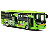 """Bocks Pull Back Bus Toy, Alloy Die Cast Toy Vehicles, 9"""" Model Car, City Bus with Flash Lights Music (Green) (Color: Green)"""