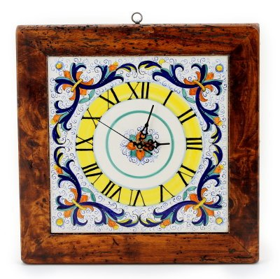 Ricco Deruta Square Wall Clock Framed in Reclaimed Wood
