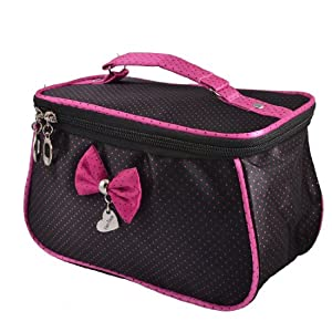 Amazon.com: Rosallini Women Dots Printed Fuchsia Bowknot Decor Zipper Cosmetic Bag Pouch Black: Beauty