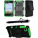 2-in-1 Bundle Combo SOGA® Hybrid Dual Layer Combat Heavy Duty Armor Case Cover With Belt Clip Holster Kickstand... by SoGa