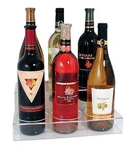 Acrylic Bottle Holder, Plastic Wine Display Riser 2-Tier Rack *Holds 6 Bottles*