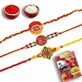 shree sai Unique Multicolor Fabric God Krishna Colorful Mauli Swastik Rakhi Set Of 3 For Men
