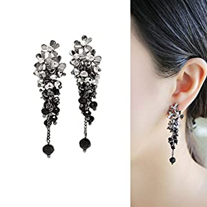 CIShop Elegant Flower Long Crystal Dangle Earrings Super Beautiful Hypoallergenic (Black)