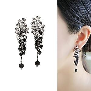 CIShop Elegant Flower Long Crystal Dangle Earrings Super Beautiful Hypoallergenic (Black)