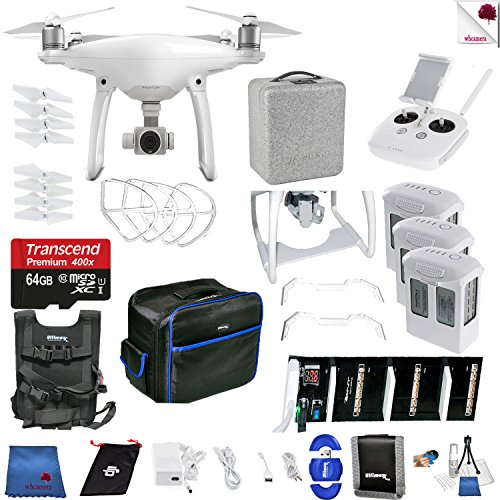 DJI Phantom 4 Eye In The Sky Bundle Includes: DJI Phantom 4 Drone + 3 Batteries (total) + Carry Vest + 64 GB Memory Card + Controller + Foam Case + More