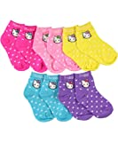 "Hello Kitty ""Hearts & Days of the Week"" 5-Pack Crew Socks - fuchsia/purple, 0 - 12 months"