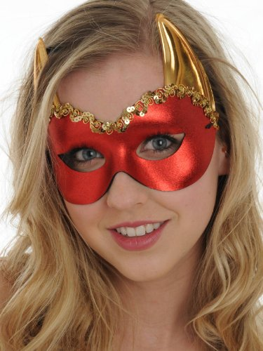Red Hot Devil Mask Gold Horns Costume Italian Dress Up Mardi Gras Halloween