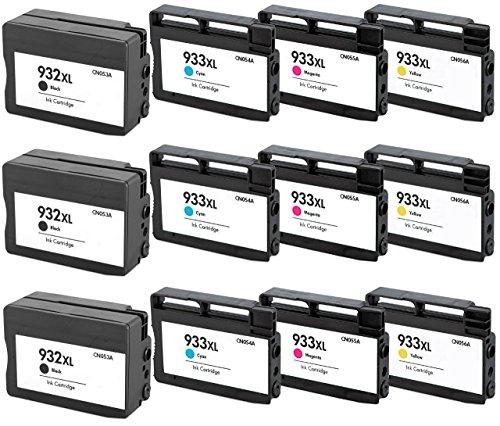 Prestige Cartridge HP 932XL / HP 933XL 12-er Pack Druckerpatronen für HP Officejet 6100, 6600, 6700, 7110, 7600, 7610, 7612, schwarz / cyan / magenta / gelb