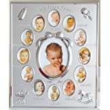 Silver Colour 'My First Year' Baby Multi-Photo Frame holds 13 Photosby Lesser & Pavey